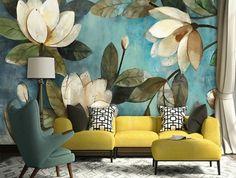 papier-peint-trompe-fleurs-géantes-