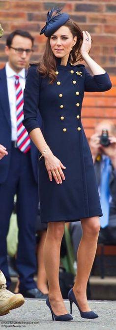 Catherine Duchess of Cambridge, in a bespoke Alexander McQueen coat dress, hat by Rachel Trevor-Morgan, and Prada shoes.