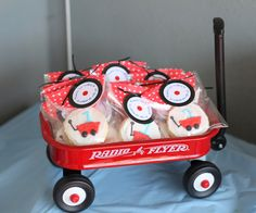 Red Wagon party - cookie favors