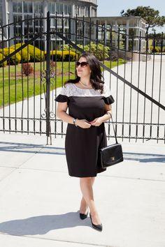 Detroit Debutante Fashion Blogger Karl Lagerfeld White Lace Dress Little Black Dress Pearls Kate Spade Purse