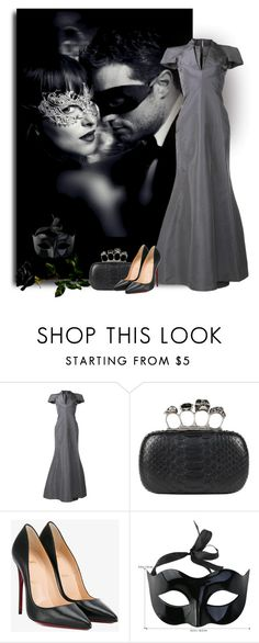 """""""50 shades darker"""" by art-gives-me-life ❤ liked on Polyvore featuring Zac Posen, Alexander McQueen, Christian Louboutin, contestentry and joyfashionandbeauty"""