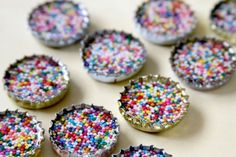 tiny sprinkles bottle caps: make with real sprinkles, resin, & recycled bottle caps