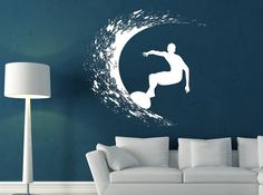 Surfer Decal my sons bedroom or the loft/playroom Surf Room, Ocean Room, Surfer Bedroom, Loft Playroom, Surf House, Asian Home Decor, Kids Room Design, Blue Walls, Beach House Decor