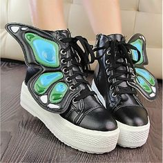 Womens Boots | Fabulous Bowknot Black PU Round Closed Toe Wedge Heel Low Heel Boots - Hugshoes.com