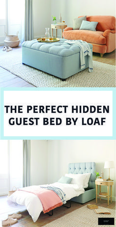The Perfect Hidden Guest Bed - Loaf - The Interior Editor - The Perfect Hidden Guest Bed - Loaf - The Interior Editor Emmaleigh Krug EmmaleighSmiles This is Home. The Perfect Hidden Guest Bed - Loaf Basement Guest Rooms, Guest Room Office, Guest Bedrooms, Sofa Bed For Small Spaces, Small Rooms, Large Sofa Bed, Small Beds, Multipurpose Guest Room, Murphy-bett Ikea