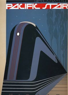 Art Deco Train Poster ~Via Valentino Calori