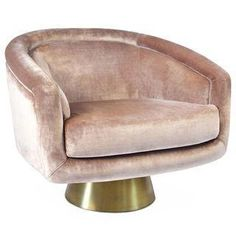 An absolutely stunning Jonathan Adler Bacharach swivel chair that is not just brand new, but still in the box! The pearl velvet upholstery is atop a brushed brass base. It has a loose reversible seat cushion.