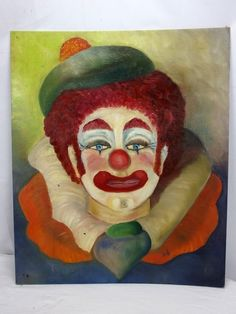 Mid-Century Original Oil on Board Painting Clown Portrait Signed 'Daf'