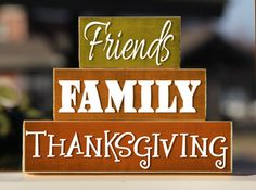 Thanksgiving Friends Family - Trio Wood Blocks Stack - Home Decor/Gift - Wooden Blocks - Fall Autumn