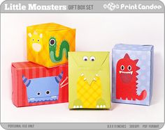 Cute Monsters  Printable Party Favor Boxes / Party door printcandee, $3.50