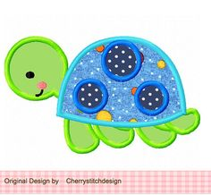 Chico tortuga Applique 4 x 4 5 x 7 6 x por CherryStitchDesign