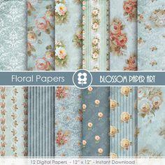 Blue Digital Paper Floral Digital Paper Pack by blossompaperart