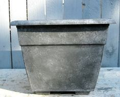 DIY Home Staging Tips: How to Faux Finish A Plastic Flower Pot-PRIMER, Daub white paint, black paint wash, then flick black paint Plastic Plant Pots, Plastic Flower Pots, Plastic Plastic, Stone Planters, Garden Planters, Container Plants, Container Gardening, Succulent Containers, Home Staging Tips