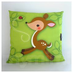 12 x 12 Animal Deer Pillow Woodland Fawn Kids Cushion by mymimi