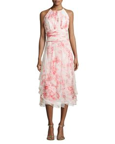Sleeveless Floral-Print Tiered Cocktail Dress by Carmen Marc Valvo at Bergdorf Goodman.