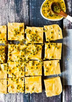 Passionfruit Slice with Thermomix and Conventional Instructions. Simple, delicious and free from gluten, grains, dairy, egg and refined sugar. Thermomix Recipes Healthy, Thermomix Desserts, Raw Food Recipes, Sweet Recipes, Dessert Recipes, Cooking Recipes, Cooking Tips, Passionfruit Slice, Passionfruit Recipes