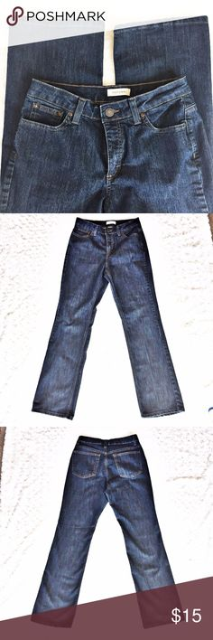 """Merona Jeans, Dark Wash, Size 10R, Like New Cond. These jeans are quality! Excellent, like new condition, and you can just tell by the feel of the fabric they will last a long time to come! Great dark wash! No wear in the backs of the bottoms, as shown in photo. Button and zipper in excellent, working condition.   Flat lay measurements: Waist approx 15"""" Inseam approx 31"""" Front Rise 10"""" Back Rise 13""""  65% cotton, 33% poly, 2% spandex Smoke free, pet free! Make offers!  Ask questions!   Merona…"""
