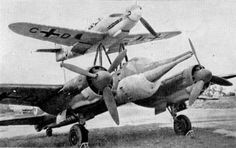The Luftwaffe's 'Mistel' program was a composite aircraft aircraft program that featured single seat fighters (usually Bf-109′s or Fw-190′s) carrying unmanned, specially outfitted bombers into combat. Rather than flown with a crew and conventional ordnance, the bombers were packed with explosives, released from their fighter aircraft, and flown via remote by the fighter pilot into their targets.  Mistel aircraft saw use in combat on the eastern and western fronts, some were shot down by U.S.