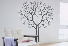 Large Tree Wall Sticker Heart Twin Tree Wall Decal Wall Art Mural sticker Large: approx x - Family Tree Decal, Tree Decals, Wall Decal Sticker, Wall Stickers, Bed In Living Room, Heart Tree, Mural Wall Art, Art Decor, Home Decor
