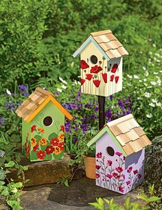 "Floral Print Birdhouses The 1-1/4"" entrance holes attract common backyard birds like chickadees, nuthatches and finches."
