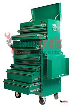 Wózek narzędziowy SATA 95107 z narzędziami i skrzynia narzędziowa SATA 95106 z szufladami