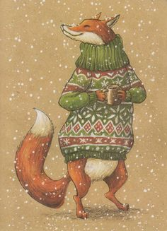VERY RARE Fox in sweater with mug by Lia Selina Russian modern postcard Hirsch Illustration, Fuchs Illustration, Winter Illustration, Christmas Illustration, Christmas Drawing, Christmas Art, Wall Drawing, Fox Art, Arte Popular