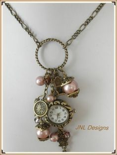 How To Keep Your Old Jewelry Looking Like New Romantic Vintage Looking Watch Charm Necklace Vintage Jewelry Crafts, Recycled Jewelry, Old Jewelry, Pandora Jewelry, Jewelry Art, Beaded Jewelry, Handmade Jewelry, Jewelry Design, Jewelry Making