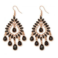 Black Crystal Chandelier Earrings Rose Gold-Plated at Viomart.com