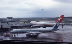 Air New Zealand DC*8 and Qantas Airways Classic Boeing 747-238B livery at Melbourne Tullamarine Airport