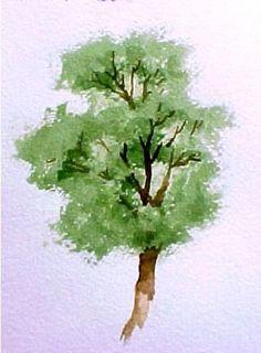 Que tal treinar a criação de uma árvore em aquarela? O mesmo procedimento é real quando na pintura sobre tecido. Só muda a tinta e o suporte.