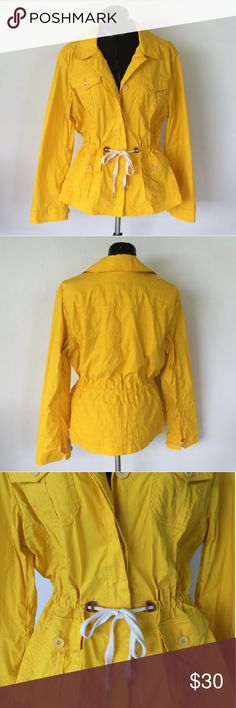 Talbots Yellow Utility Jacket In great condition! Drawstring waist, very slight stretch Talbots Jackets & Coats Utility Jackets