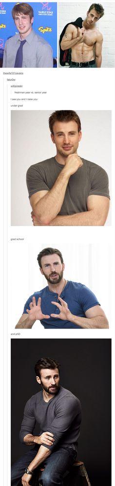 Bless this post <-- Chris Evans evolution Capitan America Chris Evans, Chris Evans Captain America, Steve Rogers, Marvel Avengers, Bae, Dc Memes, Le Male, Comic, Raining Men