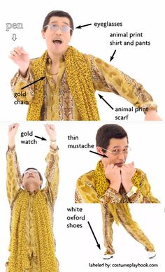 I have a pen. I have an apple. A costume guide for Pen Pineapple Apple P. I have a pen… I have an apple… UH! A costume guide for Pen Pineapple Apple Pen here: costumepla Meme Day Costumes, Cosplay Costumes, Costume Ideas, Group Costumes, Animal Print Shirts, Animal Print Scarf, Halloween Cosplay, Halloween Costumes, Halloween Queen