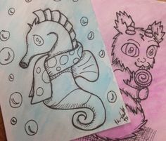 Examples of ATC ink and watercolor wash drawing ($7)