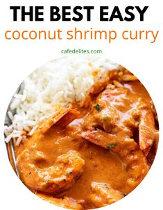 Coconut Shrimp Curry is so easy to make, creamy sauce, and bursting with rich flavor. Skip takeout and make a dinner that will leave you talking about it all week. #curry #shimp #coconut #easy #best #skillet Shrimp Recipes For Dinner, Prawn Recipes, Seafood Dinner, Curry Recipes, Seafood Recipes, Indian Food Recipes, Asian Recipes, Cod Fish Recipes, Cooking Recipes