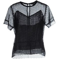 Marc Jacobs Blouse ($460) ❤ liked on Polyvore featuring tops, blouses, black, marc jacobs top, short sleeve lace top, short-sleeve blouse, short sleeve lace blouse and short sleeve blouse