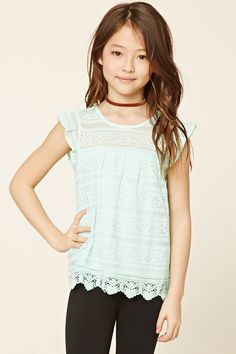 Forever 21 Girls - A knit top featuring an embroidered lace overlayer, scalloped crochet hem, ruffled cap sleeves, and a round neckline.