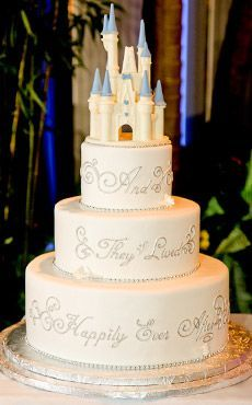 A castle cake adds the perfect touch of Disney to your wedding.