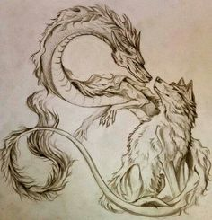 Lovely >> Tattoo concept of wolf and dragon Chinese language dragon collectively design ink...