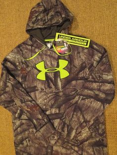 b9aaeb3ad723f Under armour men s camo hoodie l large real tree scent control mossy oak new