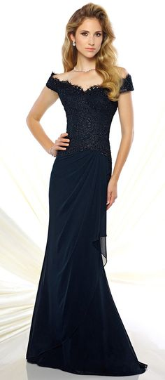 Glamorous Chiffon Off-the-shoulder Sheath Mother of the Bride Dresses With Beaded Lace Appliques
