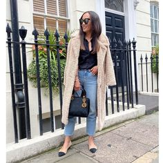 Stylish fall outfit - button don shirt, cropped jeans, shearling coat and flats | Photo shared by Abi | For more style inspiration visit 40plusstyle.com