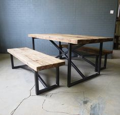Reclaimed Industrial Chic X Style 68 Seater Wood & by RetroCorner1