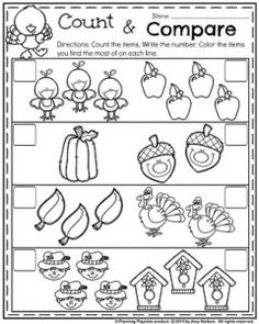 November Preschool Worksheets - Count and Compare Objects.