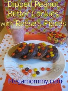Dipped Peanut Butter Cookies with Reese's Pieces
