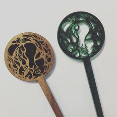 Custom Blackwood and acrylic Hair pins  Art by Kate VonRock cut by us!  #custom #awesomeness #tas #tassytimbers #tasmanianartist #artist #local #cool #laser #lasercut #lasercutter #laseretched #laserengraved #face #acrylic #blackwood #blnkdesigns #bl_nkdesigns #blankdesigns by bl_nkdesigns