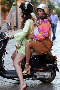#vespa | Milano: on italian streets. mint/orange/yellow/brown. Amazing Italian style! Love those shoes!