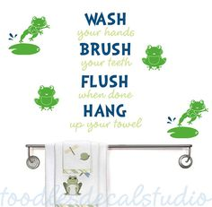 FROGS Bathroom Rules Kids Vinyl Wall Decal by ToodlesDecalStudio, $34.50