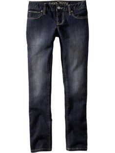 Girls Dark-Wash Super Skinny Jeans Product Image