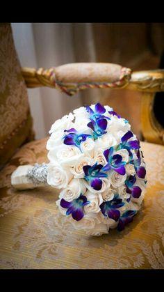 Vibrant Multicultural Wedding Glam purple and white wedding bouquet - white roses + purple and blue orchids {Joshua Zuckerman Photography} Purple Color Schemes, Wedding Color Schemes, Color Combos, Blue And Purple Orchids, Blue Flowers, White Orchids, Teal Blue, Coral, Purple Wedding Bouquets